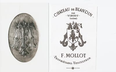 Fortuné Mollot family crest and his logo as a wine producer